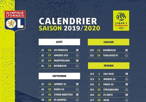 Le Calendrier Euro 2020.Telecharger Calendrier Ol Ligue 1 2019 2020 2019 2020 Pour