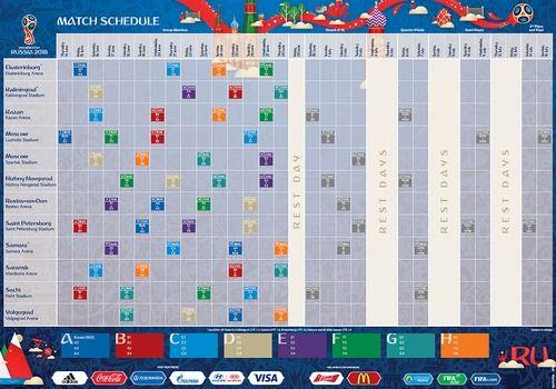 Calendrier officiel Coupe du Monde 2018 (avant tirage)