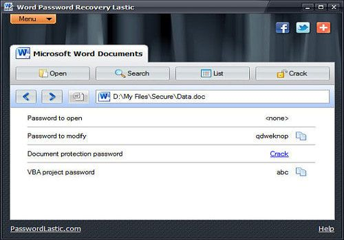 Word Password Recovery Lastic